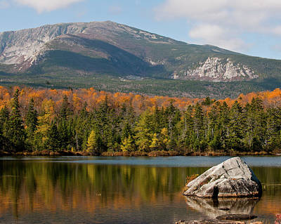 Maine Photograph - Autumn Reflections Of Mount Katahdin by Michael Barry