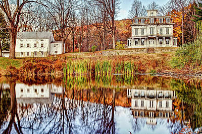 Autumn Reflections On Lake At Waterloo Village Stanhope New Jersey Art Print by Geraldine Scull