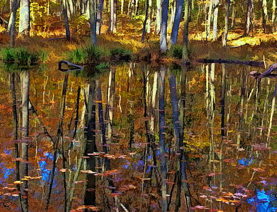 Manip Photograph - Autumn Reflections by Stephen Kinsey