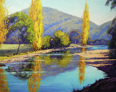 Nature Scene Painting - Autumn Reflections Tumut by Graham Gercken