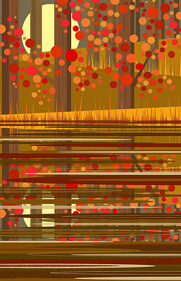 Digital Art - Autumn Reflections - Vertical by Val Arie