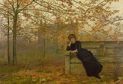 Sadness Painting - Autumn Regrets by John Atkinson Grimshaw