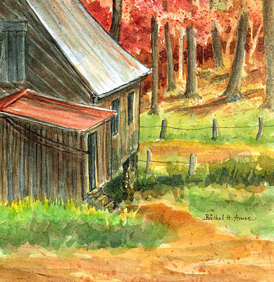 Old Cabins Painting - Autumn Retreat by Barbel Amos