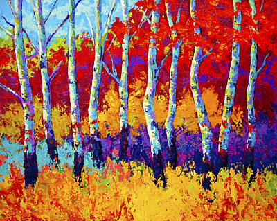Birch Trees Painting - Autumn Riches by Marion Rose