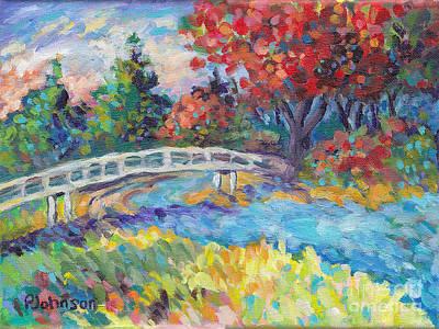 Painting - Autumn River Bridge by Peggy Johnson