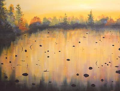 Autumn River Fog IIi Art Print by Connie Tom