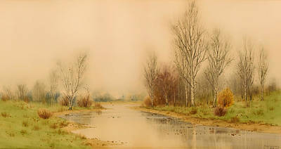 Fall Panorama Painting - Autumn River Landscape by Mountain Dreams