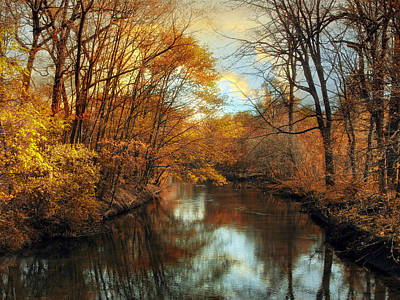 Golden Digital Art - Autumn River Lights by Jessica Jenney