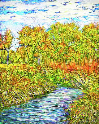 Digital Art - Autumn River Vista - Park In Boulder County Colorado by Joel Bruce Wallach