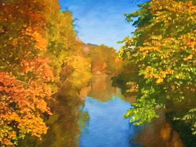 Impressionism Digital Art - Autumn Riverlight by Lutz Baar