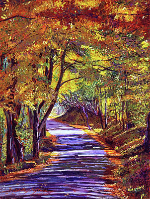 Vermont Landscape Painting - Autumn Road by David Lloyd Glover