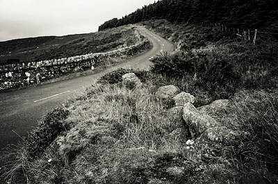 Photograph - Autumn Road In Wicklow Hills. Black And White by Jenny Rainbow