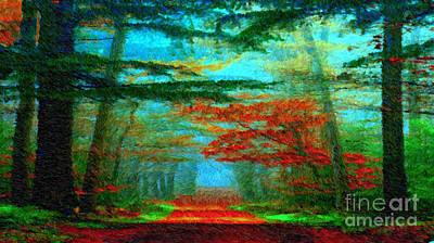 Digital Art - Autumn Road by Rafael Salazar