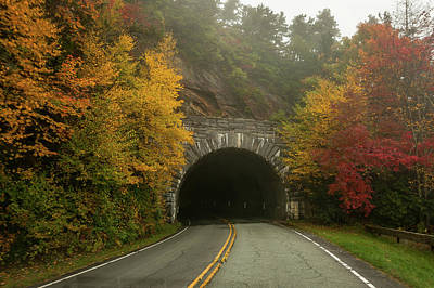 Photograph - Autumn Rough Ridge Tunnel North Carolina by Terry DeLuco