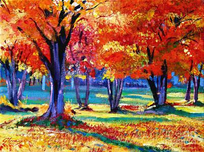 Fallen Leaf Painting - Autumn Row by David Lloyd Glover