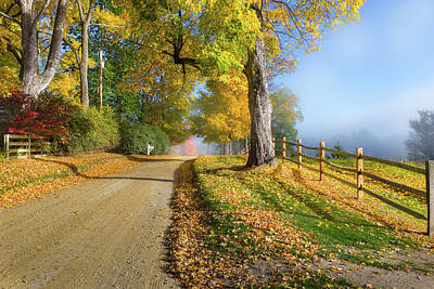 New England Fall Foliage Photograph - Autumn Rural Road by Bill Wakeley