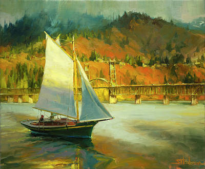 Colorful Boats Wall Art - Painting - Autumn Sail by Steve Henderson