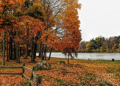 Photograph - Autumn Scene Green Lake Orchard Park New York by Rose Santuci-Sofranko
