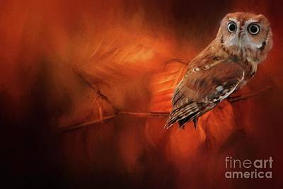 Digital Art - Autumn Screech Owl by Suzanne Handel
