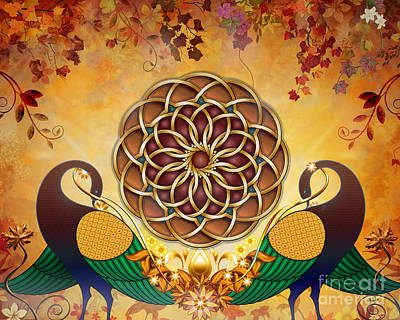 Element Mixed Media - Autumn Serenade - Mandala Of The Two Peacocks by Bedros Awak