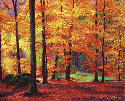 Fallen Leaves Painting - Autumn Serenity by David Lloyd Glover