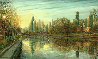 Hancock Building Painting - Autumn Serenity by Doug Kreuger