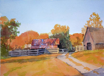 Old Barn Painting - Autumn Shadows by Armand Cabrera