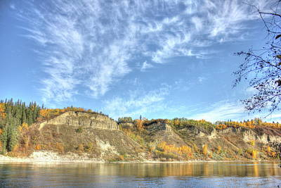 Photograph - Autumn Sky On The River by Jim Sauchyn