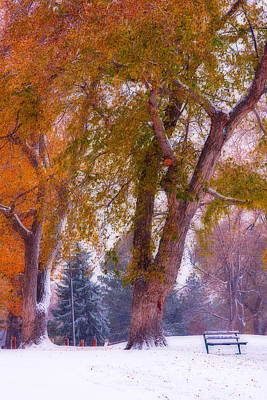 Park Benches Photograph - Autumn Snow Park Bench Peace by James BO  Insogna