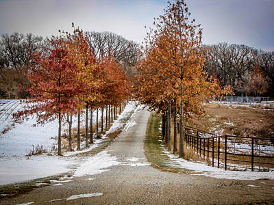 Popstar And Musician Paintings Royalty Free Images - Autumn Snowy Lane Royalty-Free Image by Jeffrey Henry