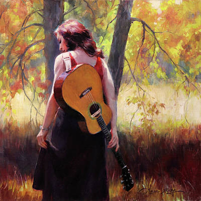 Redhead Painting - Autumn Song by Anna Rose Bain