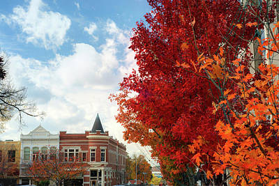 University Of Arkansas Wall Art - Photograph - Autumn Splendor Along The Downtown Fayetteville Arkansas Skyline  by Gregory Ballos