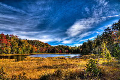 Autumn Splendor On Fly Pond Art Print by David Patterson