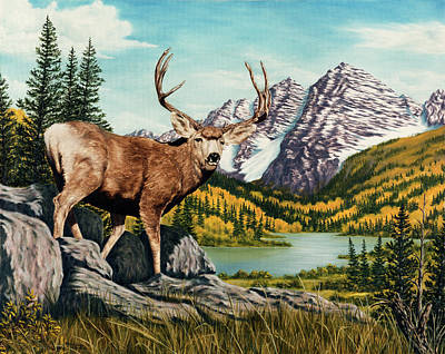 Mule Deer Buck Painting - Autumn Splendor by Rick Bainbridge