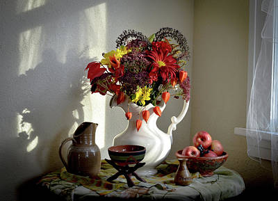 Wall Art - Photograph - Autumn Still Life With Chinese Lanterns by Wendy Blomseth