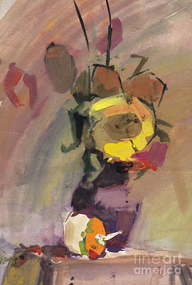 Pitcher Plants Drawing - Autumn Still Life With Sunflowers Bouquet by Anastasiia Kononenko
