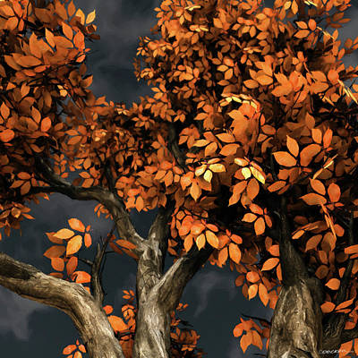 Tree Digital Art - Autumn Storm by Cynthia Decker