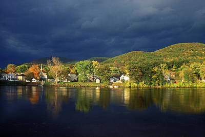Autumn Storm Over Connecticut River Print by John Burk