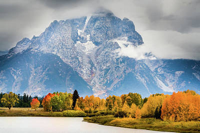 Photograph - Autumn Storm Over Mount Moran by TL Mair