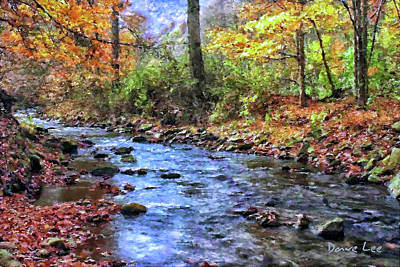 Autumn Landscape Mixed Media - Autumn Stream by Dave Lee