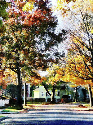 Photograph - Autumn Street With Yellow House by Susan Savad