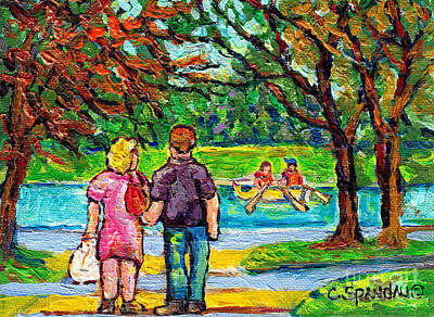 Painting - Autumn Stroll Canadian Landscape Painting Maple Trees Canoe At Beaver Lake Mont Royal Park C Spandau by Carole Spandau