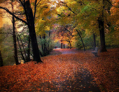 Autumn Stroll Art Print by Jessica Jenney