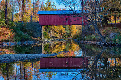 Photograph - Autumn Sun On A Red Covered Bridge by Jeff Folger