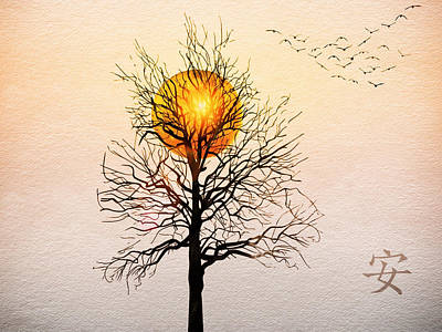 Simplicity Drawing - Autumn Sun Tranquility by Anthony Robinson