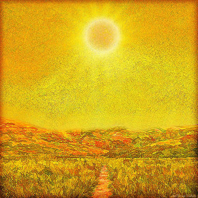 Art Print featuring the digital art Golden Sunlit Path - Marin California by Joel Bruce Wallach