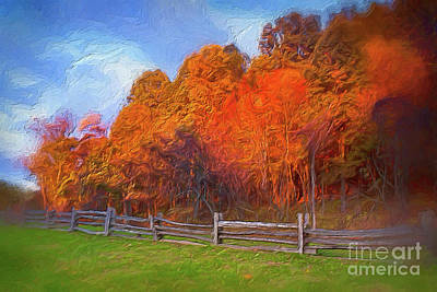 Digital Art - Autumn Sunrise At Peaks Of Otter In The Blue Ridge Ap by Dan Carmichael