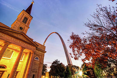 Photograph - Autumn Sunrise - Downtown Saint Louis Gateway Arch And Old Cathedral by Gregory Ballos