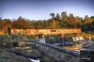 Grist Mill Photograph - Autumn Sunrise Glow Watson Mill Covered Bridge by Reid Callaway