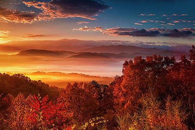 Photograph - Autumn Sunrise In The Smokies by Andrew Soundarajan